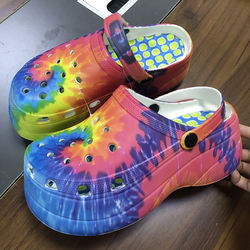 Hot Popular  Women Platform Clogs 5cm Rainbow Printed High H