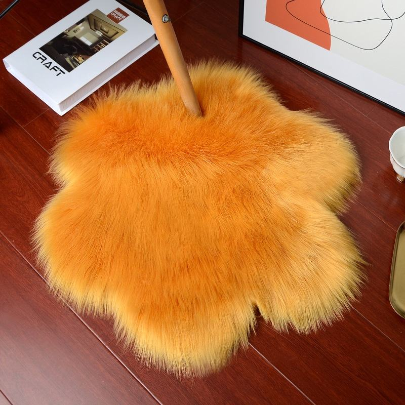 Flower Shape Shaggy Rug Machinemade Chair Mats Fur Rug Sheepskin