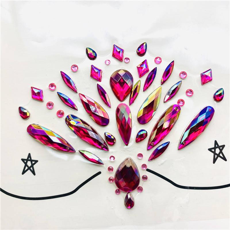 Rosto e corpo jewels Etiqueta Auto-Adesiva Espumante Plástico Acrílico adesivo de strass