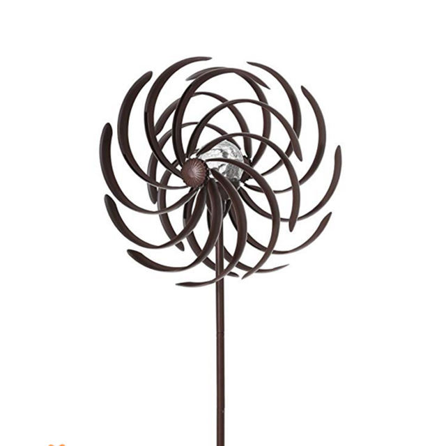 Large Chinese Wind Spinner Metal Bronze Flower Style Kinetic Wind Garden Spinner