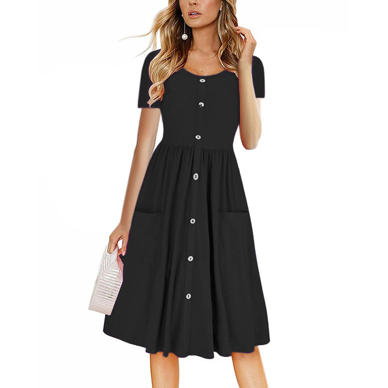 New Short Sleeve Button Down Dress Midi Fashion Korea Midi Summer Dress