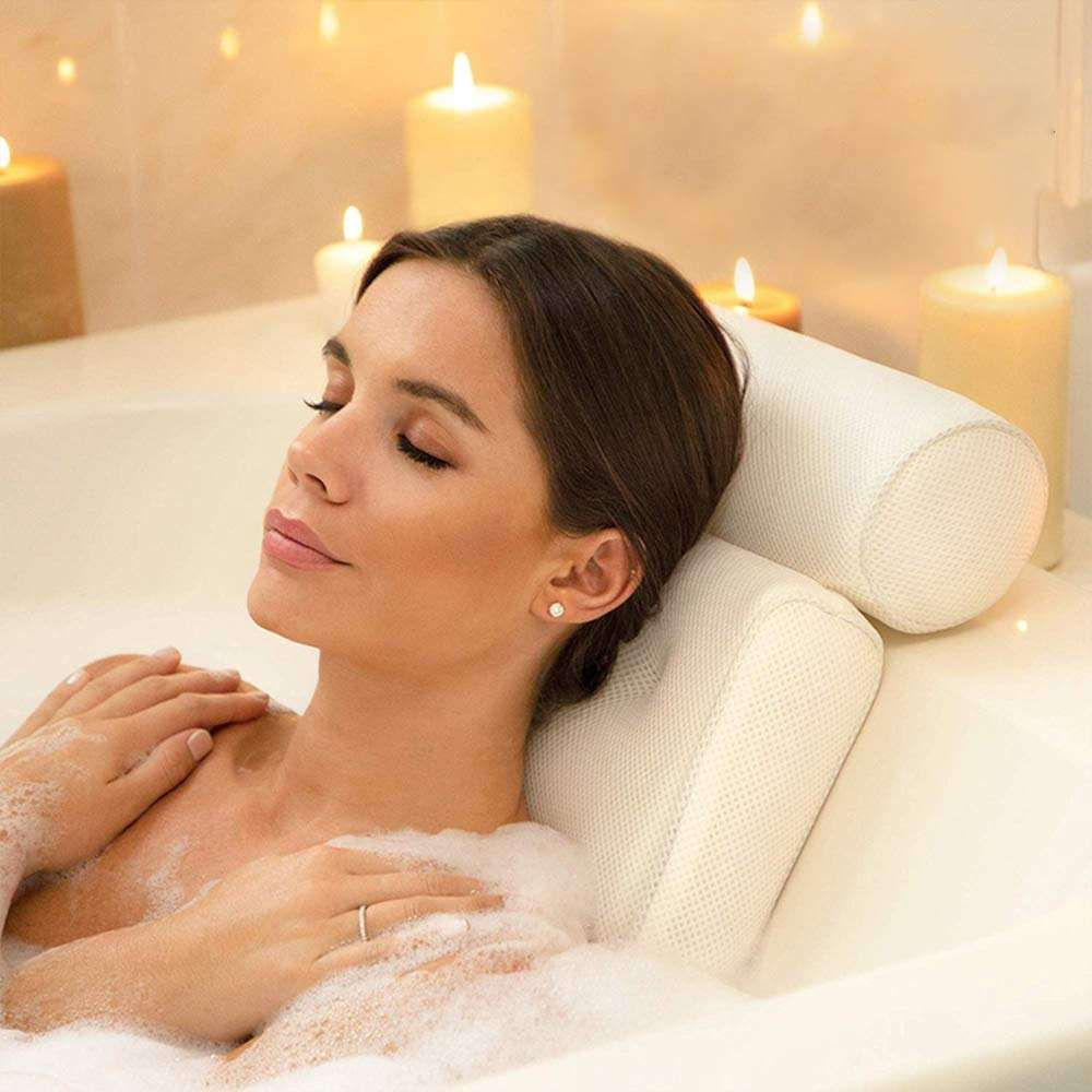 Hot New Design Wholesale Non-Slip 3D Mesh SPA Bath Pillow Luxury Bathtub Pillow