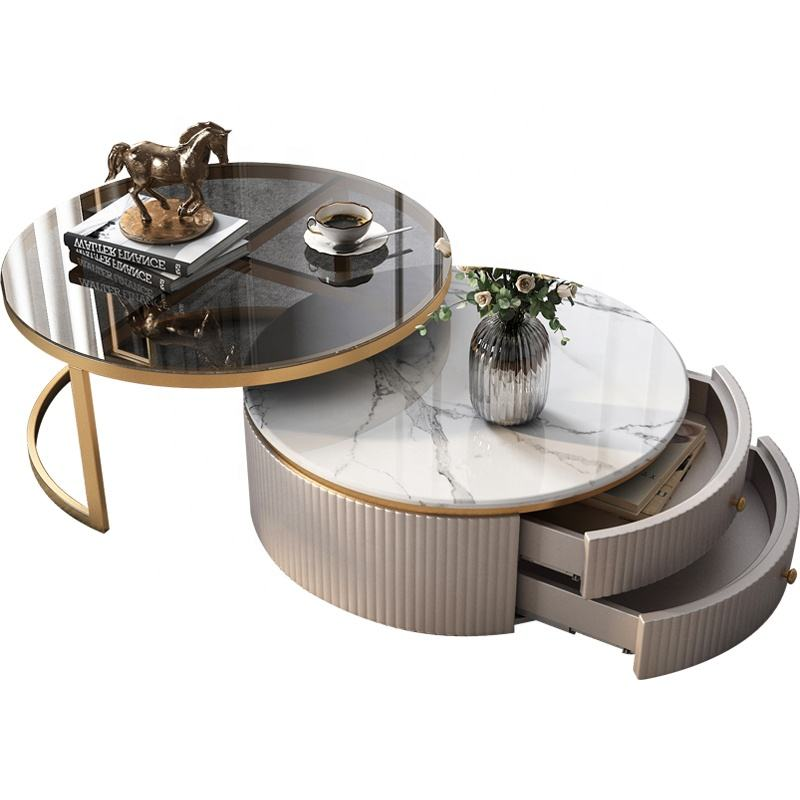 Luxury Furniture Marble Top Coffee Table Sectional Glass Round Tea Table with Gold Stainless Steel Frame