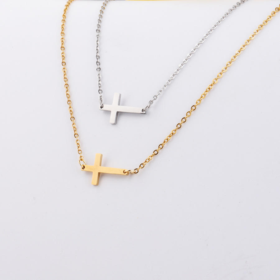 Sideways Stainless Steel Cross Pendant Necklace Jesus christ necklace Silver Gold Rose Gold Plated Necklace for Men and Women