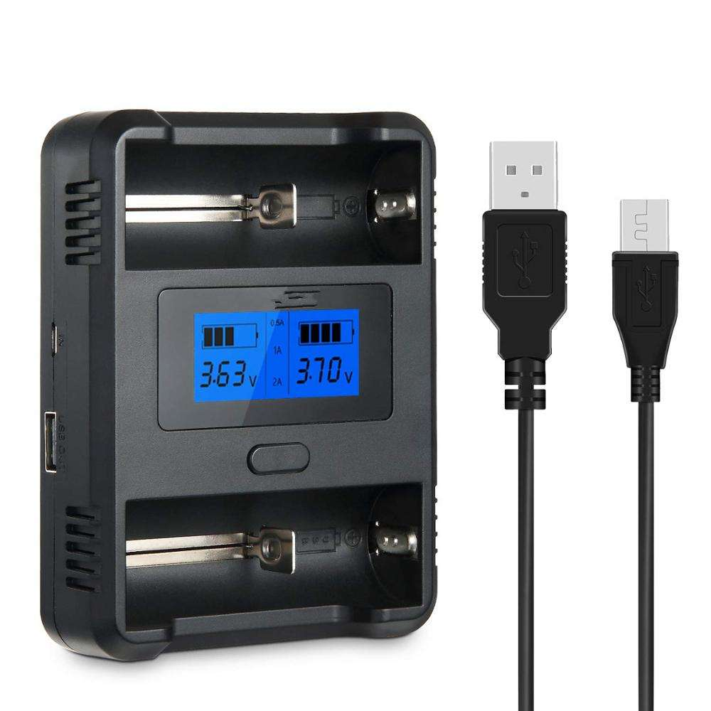 Viwipow chargeurs 18650 aa aaa batterie 2 fentes Lcd avec chargeur de voiture