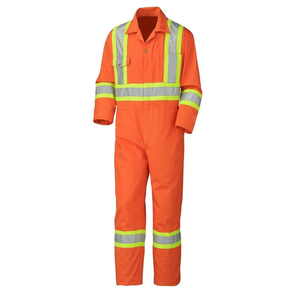 OEM Advanced Cotton Nylon Fire Retardant Orange Safety Coverall with Reflector