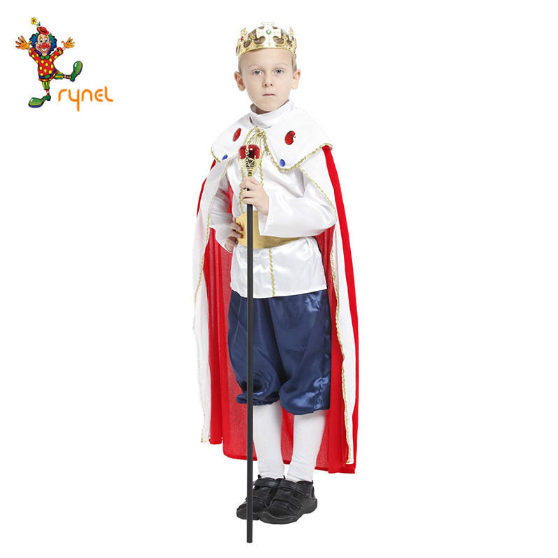 Hot sale Luxury Halloween Fancy Dress children's cosplay king costume With a crown scepter and cloak for boysPGPF0270