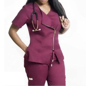 2020 Latest custom logo embroidered high fashion scrub suit design nurse uniform