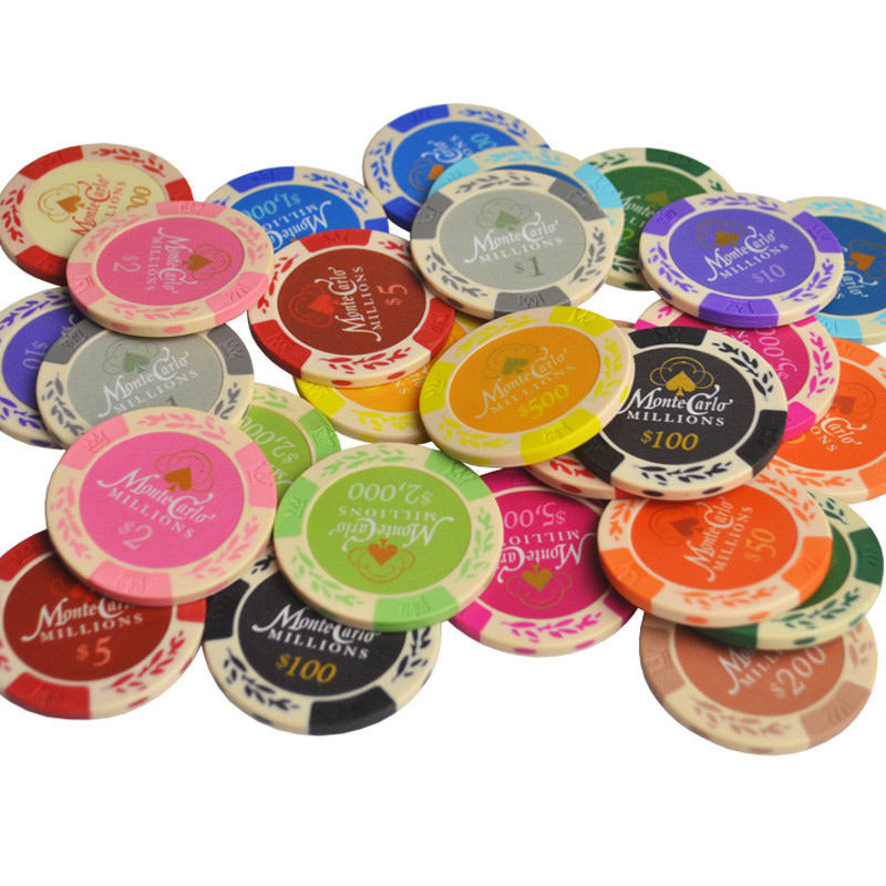 14g Chips Monte Carlo Wheat Inner Metal Coins Texas Hold'em Caisno factory Set Clay Poker Chips