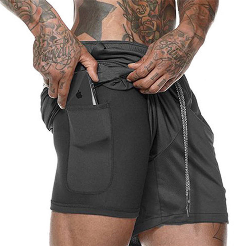 Gepersonaliseerde Logo Compressie Polyester Sport Shorts Mannen Plus Size 2 in 1 Heren Shorts Ademend Turnkleding met Innerlijke Leggings