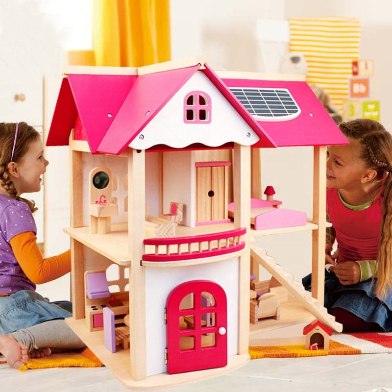 Pretend Toy Kids Wooden Doll Villa with Doll Room Furniture dollhouse