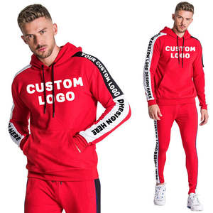 Fashion trendy tracksuits custom logo red tracksuit men french terry sweatsuit