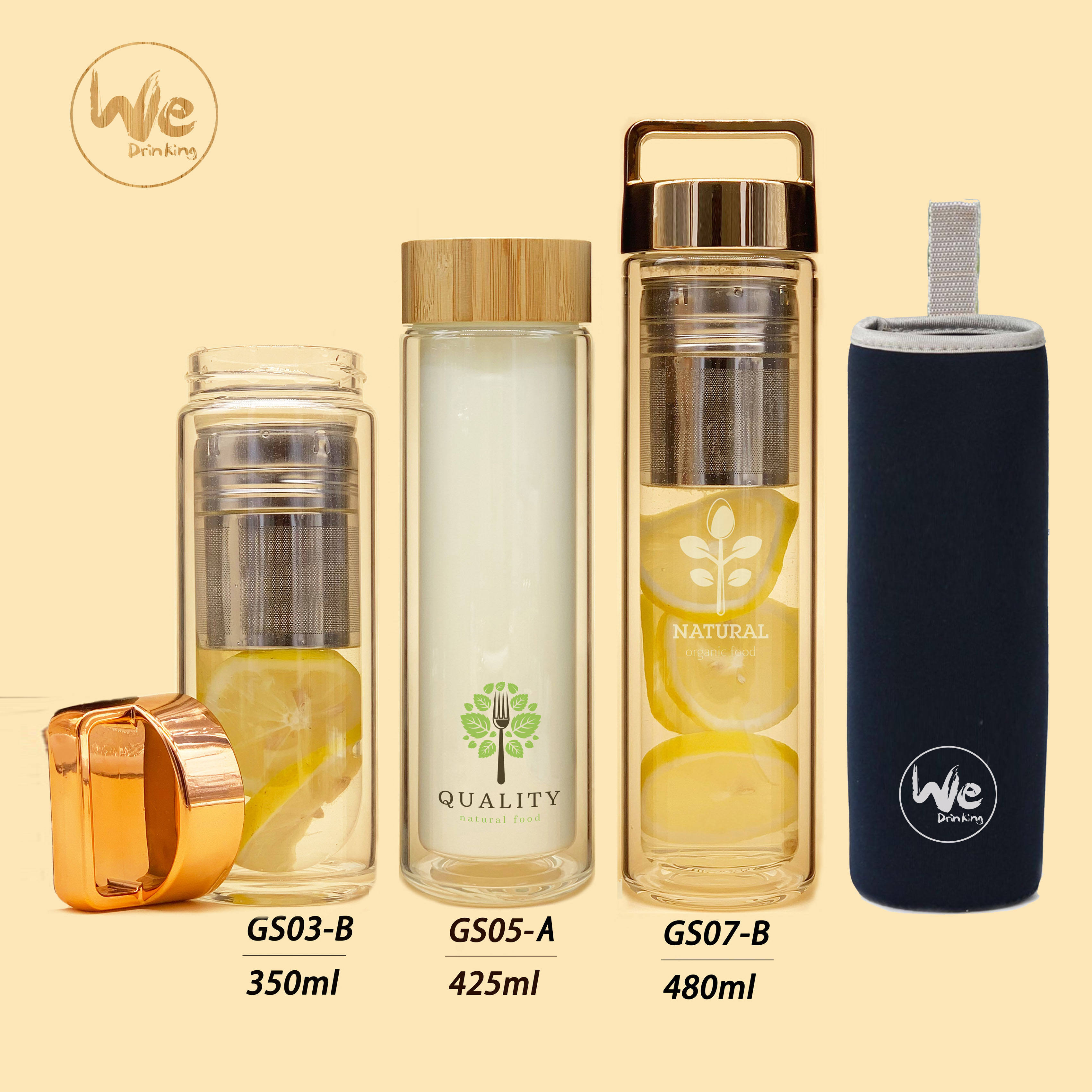 GS07-A 480ml Bamboo Cap Double Wall Glass Bottle with Stainless Steel Strainer and Filter for Loose Leaf Tea and Fruit Water