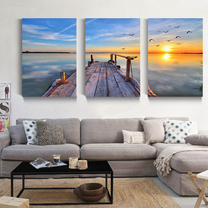 Modern Seascape Wall Art Oil Painting DIY Goden Sunset Blue Sky over The Sea 3 Piece Canvas Wall Art