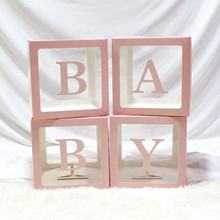 new arrival baby shower boxes BABY Blocks Design Transparent box balloons packing box baby shower party supplies