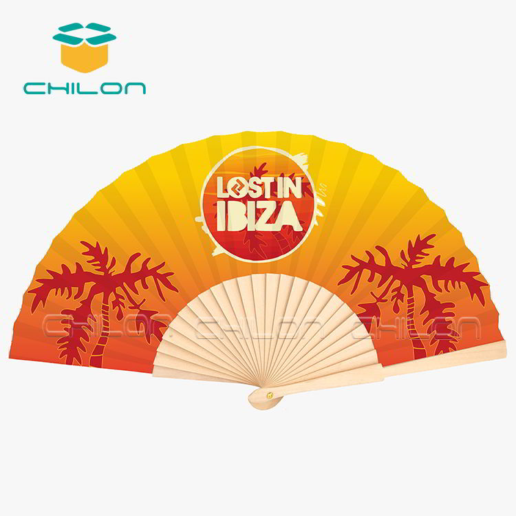 Custom logo printed portable hand fan wooden hand fan sticks