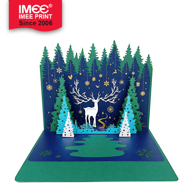 IMEE Wholesale Custom Christmas 3D Pop Up Card Green Christmas Tree and Elk Greeting Gift Card
