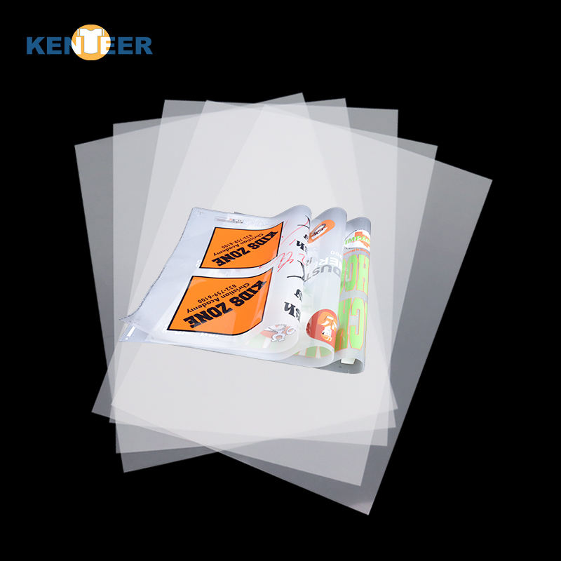 Kenteer Factory Kustom 75/100 Mikron A3 A4 <span class=keywords><strong>Film</strong></span> <span class=keywords><strong>Pet</strong></span> Gulung Dtf <span class=keywords><strong>Film</strong></span> Transfer Digital untuk DTG Epson P5000 L1800 Printer