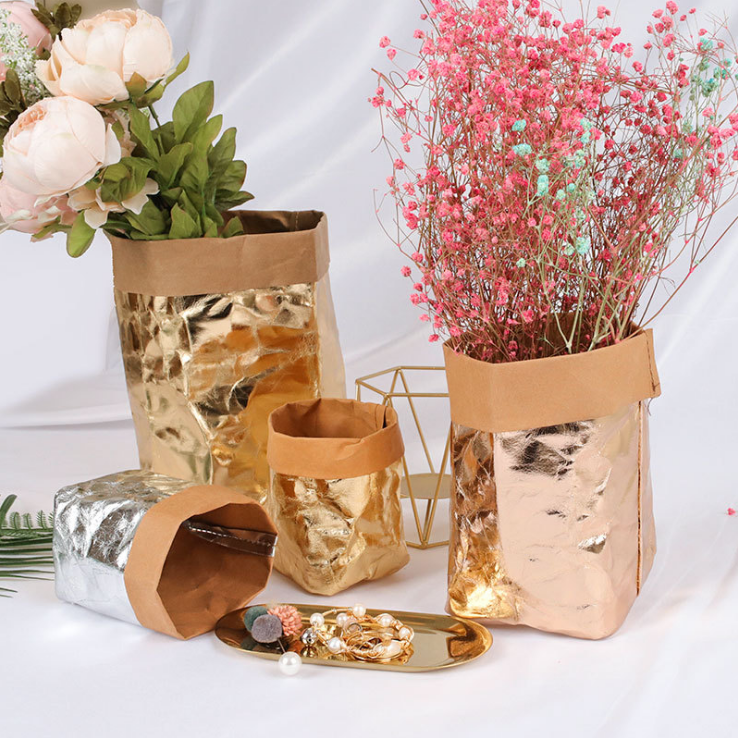 Kitchen Organizer Multifunction Storage Bag Containers Home Decoration Washable Kraft Paper Bag Plant Flowers Pots