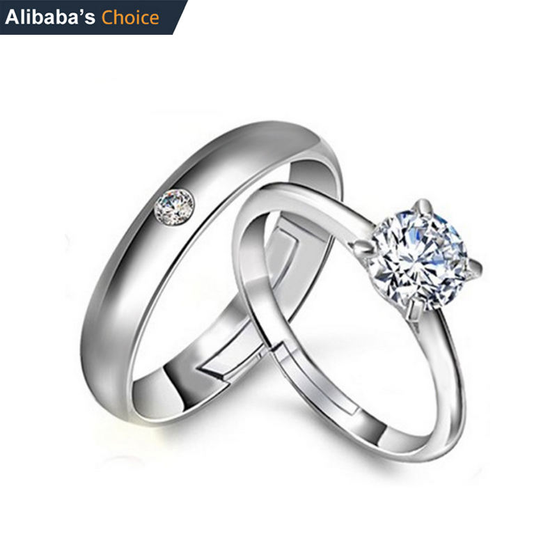 Free Size Adjustable 925 Silver Couple Ring For Wedding Engagement Jewelry diamond ring crystal rings