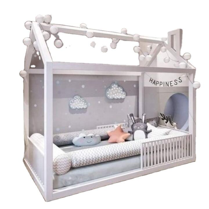 White color cheap pine wood kids bed house wood bed