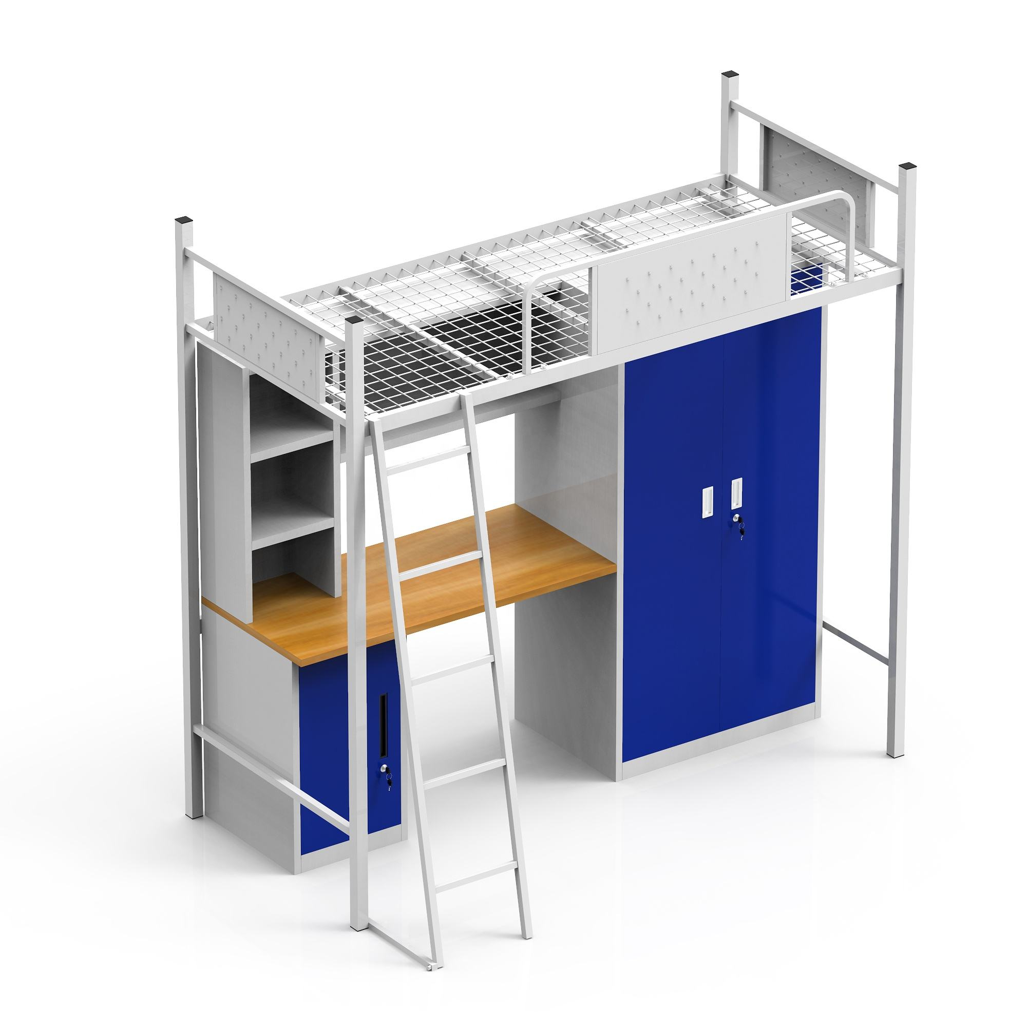 high quality cheap university college metal steel dormitory bunk bed with desk