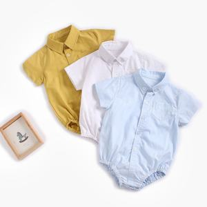 Baby Clothing Boy Baby Shirt Newborn Cotton Short Sleeve Solid Color Romper Suit