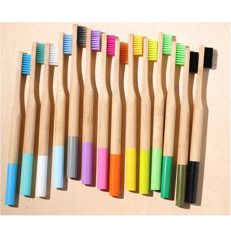 Eco-friendly [ Soft Bristles Brush ] Soft Eco-friendly Multicolor Biodegradable Home Bamboo Toothbrush Soft Nylon Bristles Brush Head