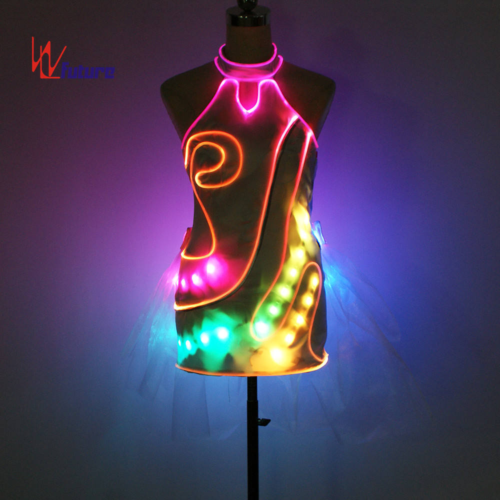 WL-0208 LED Light Chinese Traditional Minority Qipao Costumes LED Girls Dresses color changing Showgirl dress Evening Dress