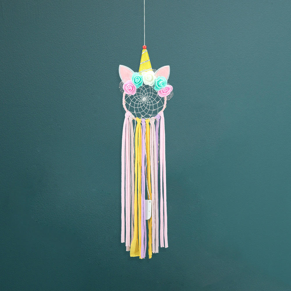 New Dream Catcher Macrame Craft Lovely Unicorn Shape Dream Catcher Home Kindergarten Decoration for Kids Children Girls Room