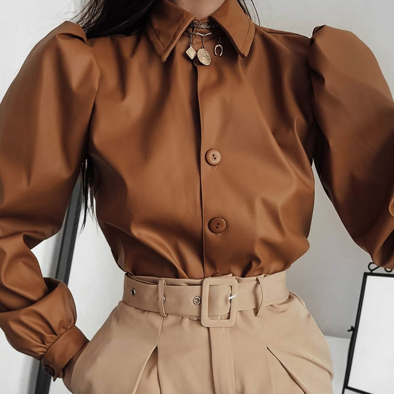 Puff Sleeve Faux PU Leather Solid Buttons Fashion Elegant Retro Office Ladies Tops Blouse For Women