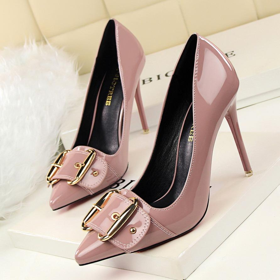 high heels Women Concise office Lady shoes pointed toe buckle Pu leather pumps Fashion wedding party shoe thin heel
