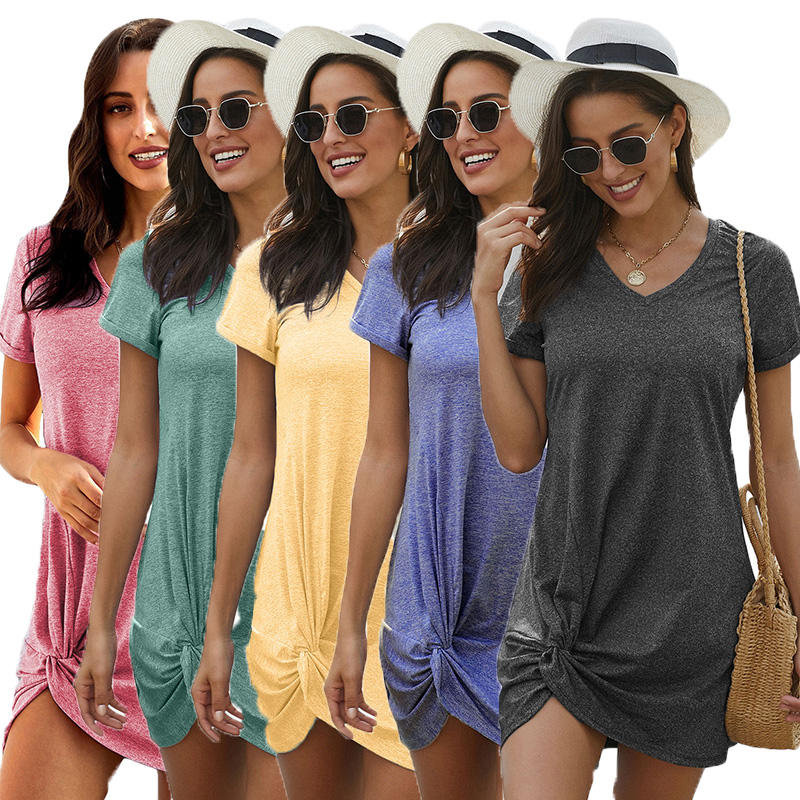 Women Casual Soild Short Sleeve Knee Length V Neck Triblend Side Knot Summer Dress