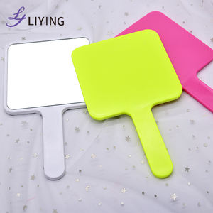 Small MOQ custom logo square shapes cosmetic cute pink hand mirrors private label wholesale bulk salon hand held mirror