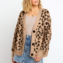 L10 cardigans Womens Long Sleeves V Neck Button Up Knitted Cute Leopard Cardigan Winter Autumn Sweater Coat  KS-shipping