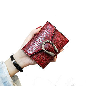 Wholesale small pu leather crocodile wallet women card holder coin purse ladies money clip wallet