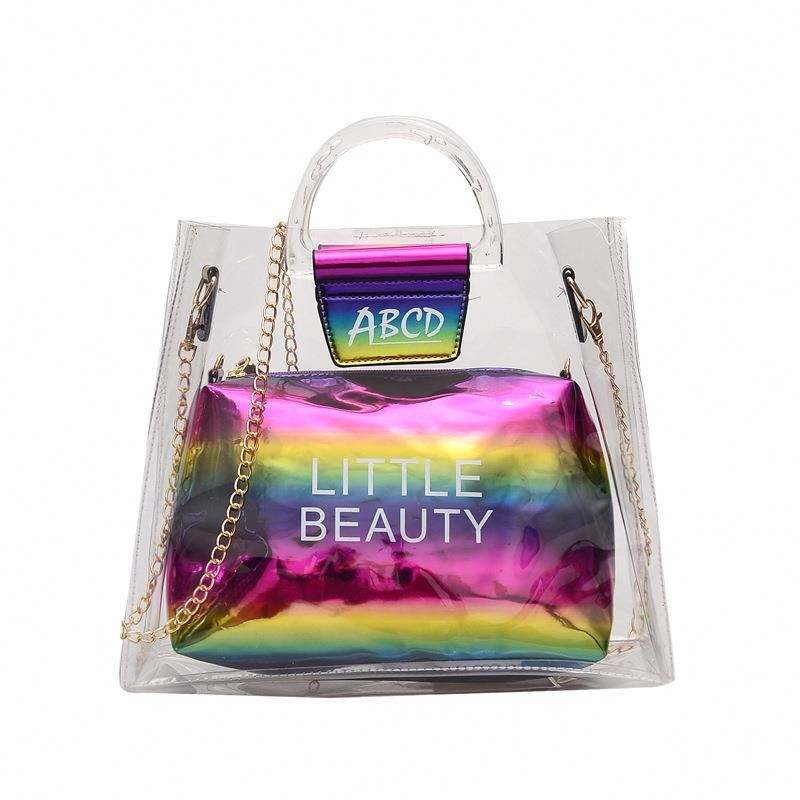 All kinds of rainbow laser straddle single shoulder bag female jelly sub mother bag beach travel handbag chain transparent bag