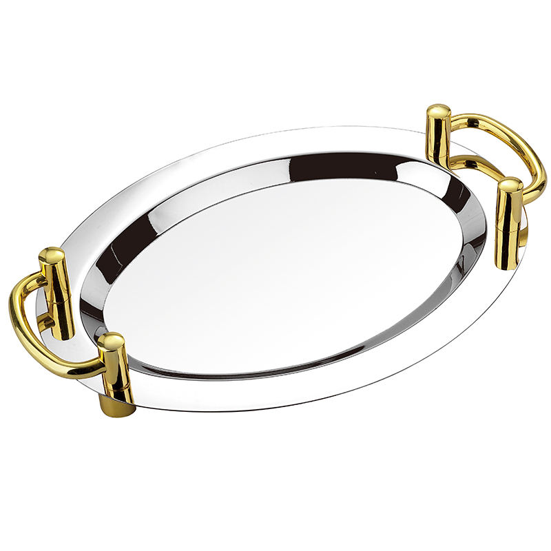 Mirror polished stainless steel oval tray/metal serving tray
