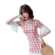 Newest elegant pink plaid white ruffle design dress Chinese traditional stand collar cheongsam