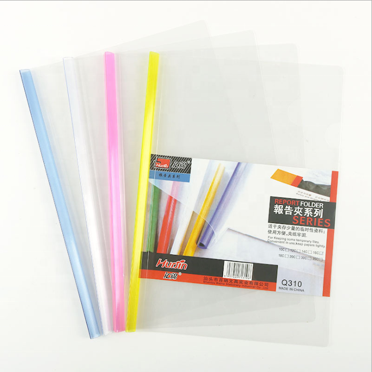 Factory Price Clear Plastic Sliding Bar Report Cover Document A4 Size Office Stationery File Folder