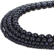 8mm Natural Blue Sand Goldstone Gemstone Round Loose Beads for Jewelry Making