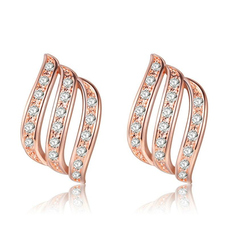 Top Quality Angle's Wing Rose Gold Color Stud Earrings For Women Wedding Jewelry Vintage Cubic Zirconia Wholesale