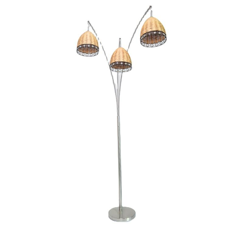manufacturer dimmable floor light crystal bamboo 3 led lights decorative marble base wicker floor lamp