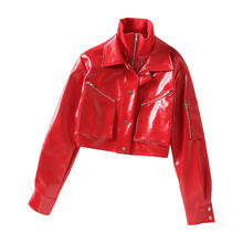 Red short high collar zipper pocket leather jacket for lady