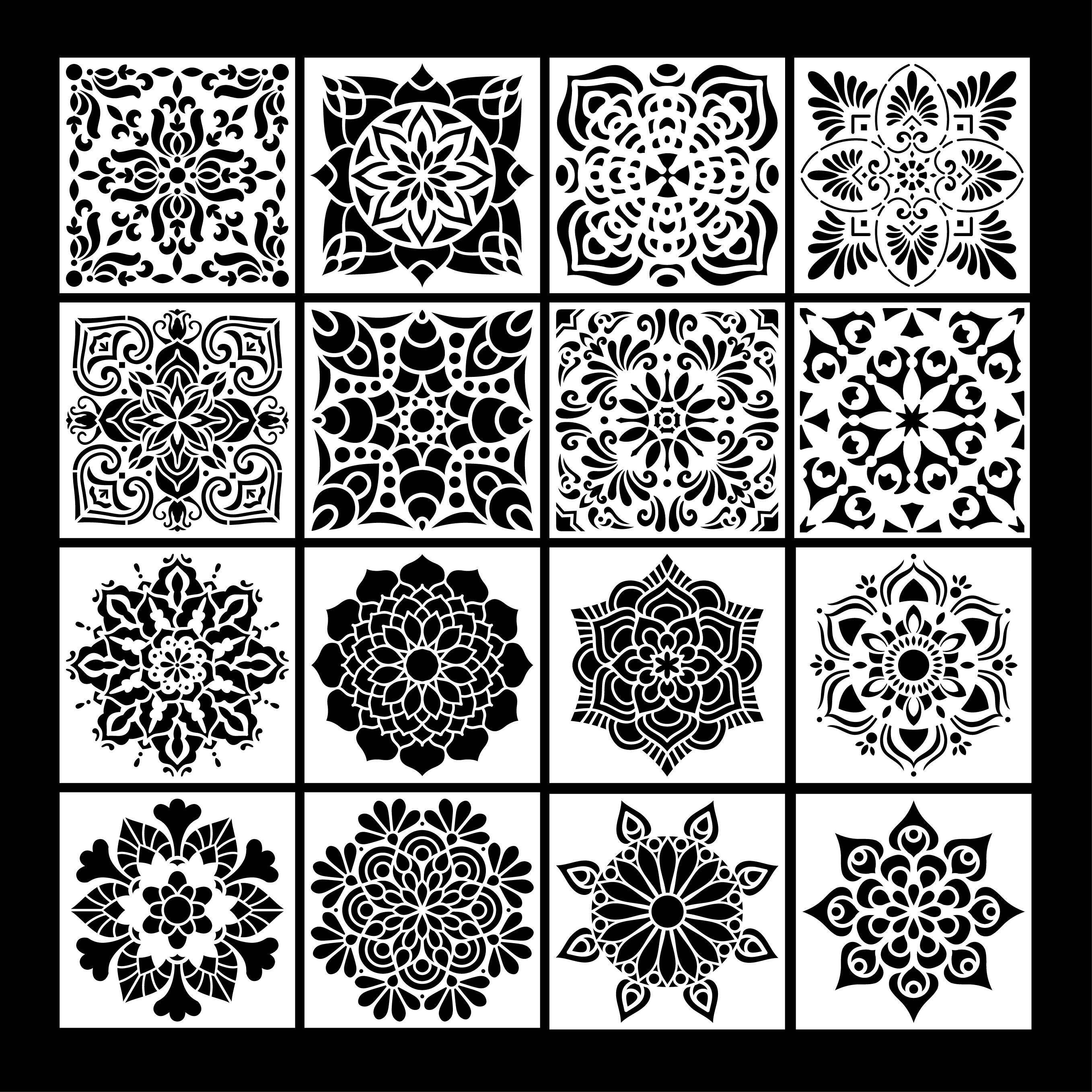 Painting Drawing Stencils Mandala Template for Stones Floor Wall Tile Fabric Wood Burning Art