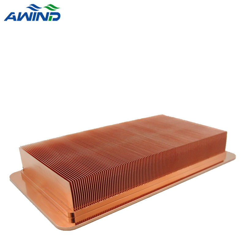 2020 Custom copper skiving fin heat sink with cooper wash finish for liquid cold plate