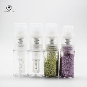 Empty 14ml clear plastic dust pump glitter spray cake decorating powder dispensing bottle cap