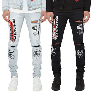Jeans déchirés D'été de Style Chaud Graffiti Slim Stretch Denim Pantalon