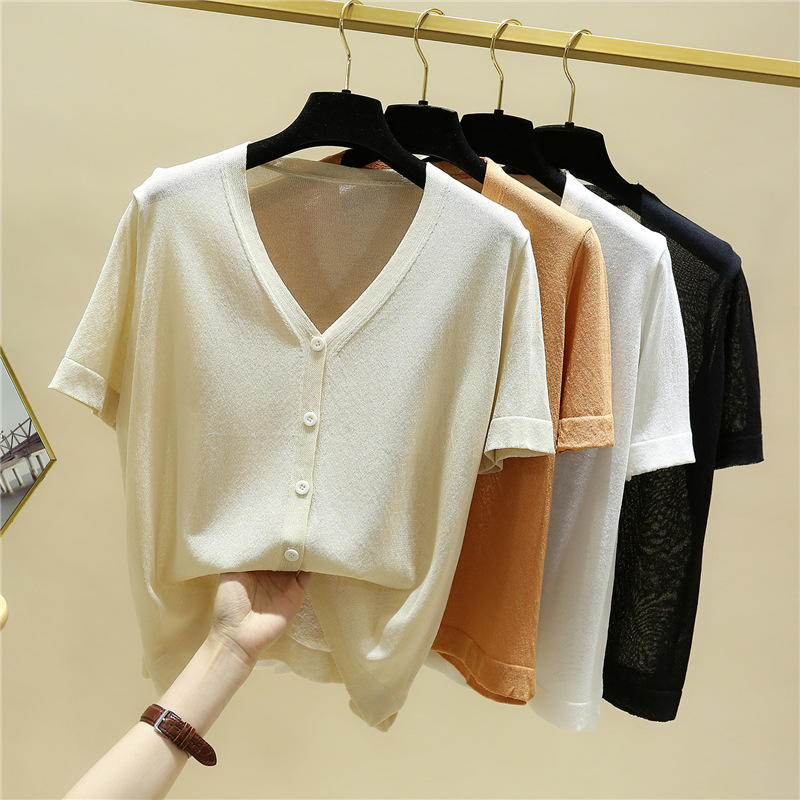 Ever Fashion OEM quality hollow ladies summer thin knit wear half placket women short sleeve sweater pullover