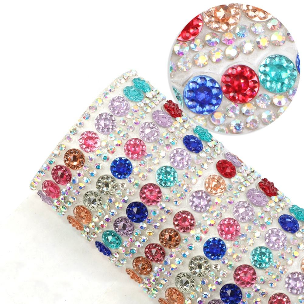 Multicolor Hotfix Glue Rhinestone Mesh Sheet 24*40センチメートルRound Crystal Adhesive Sticker SheetためShoes Hair Bows Bags 1103222
